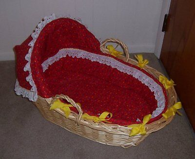 Wicker Baby MOSES BASKET Hooded Red with Stars Travel Bassinet Baby Shower