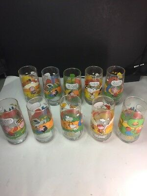Vintage McDonalds CAMP SNOOPY GLASSES Collection Complete Set of 10