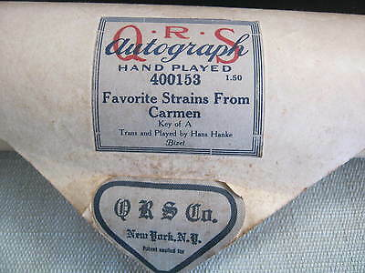 Vintage Q R S Co Piano Roll, Favorite Strains From Carmen 400153