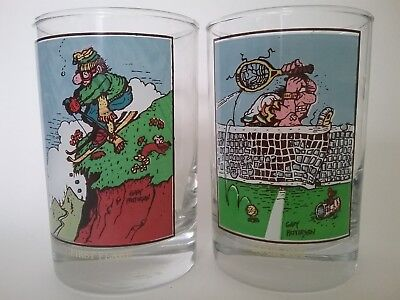 """Arby's Collector Series 2 Glasses """"First Flake"""" & """"Luck Out"""" Gary Patterson 1982"""