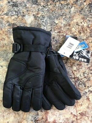 Thinsulate Boys Ski Gloves with Piping Wrist Strap Black Size 8-18 NWT