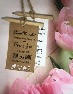 Pencil Us In Save the Date Tags Rustic Cards with Envelopes Wedding Invitation
