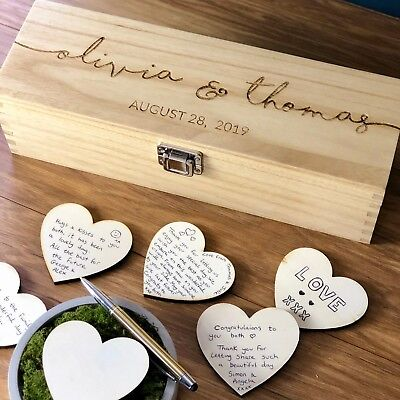 Wedding Guest Book Personalised - Rustic Wooden Alternative Drop Box Heart Sign