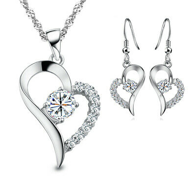 Silver Plated Double Heart Pendant 925 Women Necklace Ladies Gift CHAIN FREE!