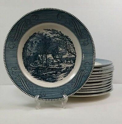 """12PCS!!  Currier and Ives 10"""" Blue Dinner Plates - The Old Grist Mill - Nice"""