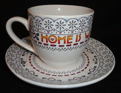 "Mary Engelbreit ""Home Is Where The Heart Is"" Tea Cup Set Euc"