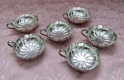 Set of 6  Footed Wine Tasters Marked  .900 Plata Fina   South American Silverf