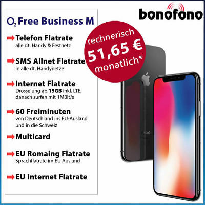 Apple iPhone X 64GB - o2 Free Business M- Allnet Flatrate|SMS|Internet Flat 15GB