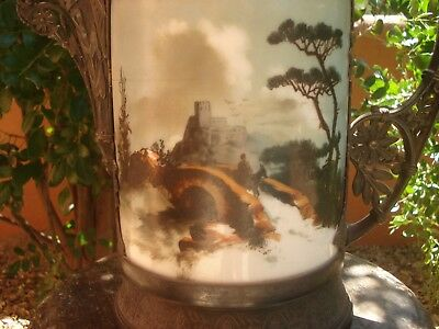 Victorian, Gothic, Simpson, Hall and Miller Large Hand Painted Glass Pitcher