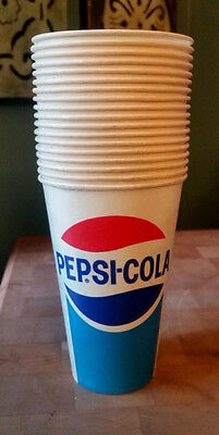 Pepsi Cola 14 Fl. oz. Wax Paper Unused Cups Set of 18 Marked Dixie Cups Made USA
