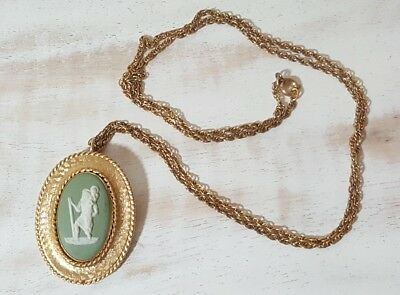 Vintage Gold Filled WEDGWOOD Green Cameo Necklace Brooch Pin