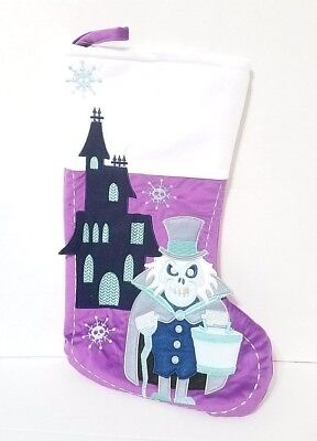Disney Parks Haunted Mansion Ghost Holiday Christmas Stocking Purple