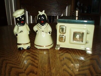 VINTAGE BLACK AMERICANA - Salt And Pepper Shakers With Grease Jar - Pale Yellow