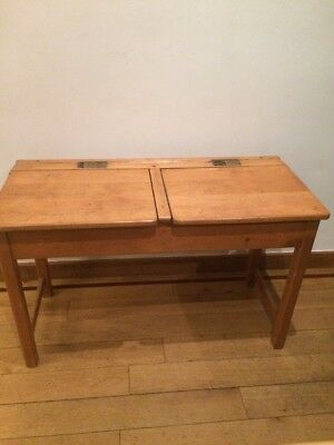 Vintage 1940s? Kingfisher Ltd Child's School Double Desk Wooden With Two Ink