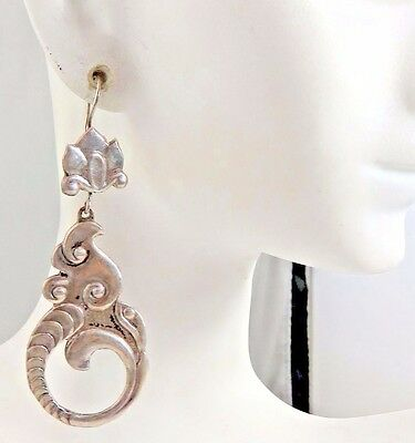 Vintage Sterling Arts and Crafts Long Dangle Earrings