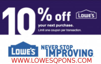 Five(5x) Lowes 10% OFF Printable Coupons( Online+InStore ) lnstant Delivery