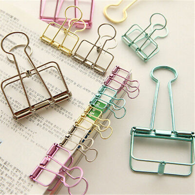 2Pcs Novelty Hollow Metal Binder Clips Notes Letter Paper Clip Office Supply PT