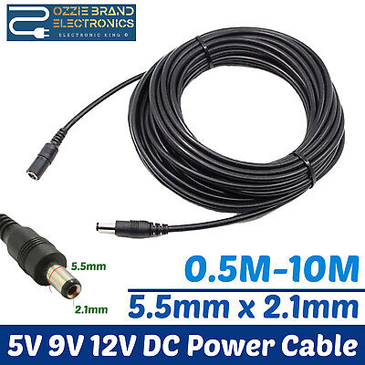 Extension Lead Cable Cord For Ac/dc 5V 9V 12V Power Supply Adapters 5.5X2.1 Tip