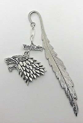 12cm Game of Thrones Inspired Stark Bookmark - 2 Charms