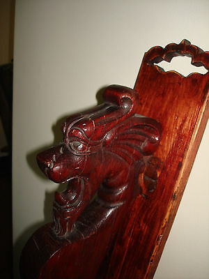 Vintage Chinese Wood Carved Architectural Salvage Dragon Head