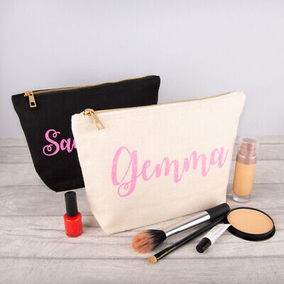 Personalised Make Up Bag Any Name In Glitter Christmas Birthday Present Gift