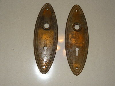 2 Antique Vintage door knob Back Plate Ornate Art Deco oval==