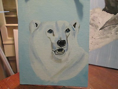 original painting, polar bear 8x10