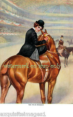 Art Deco~Woman Sidesaddle~Horse Show~ NEW Lg Note Cards