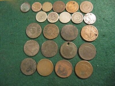 Lot Of 23 Antique United States Coins Low Grade,large Cents, 2 C., Shields, Etc.