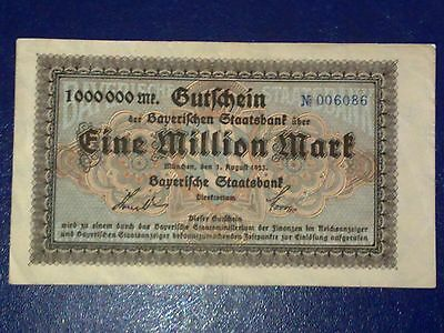 Germany - 1 Million Mark  Banknote 1/8/1923- Stuttgart-Inflation - Very Fine