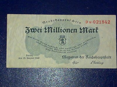 Germany - 2 Million  Mark 1923- Inflation -   Fine