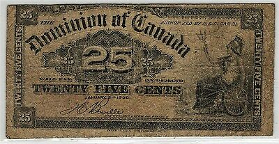 Canada, 25 Cents 1900 P-9b, Misaligned Front Error (G)