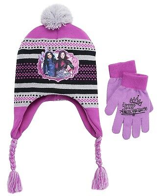 NWT Disney's Descendants Mal Girls Earflap Hat and Gloves Set, Girls OSFM