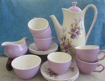 Retro 1960s CROWN CLARENCE Staffordshire COFFEE POT, MILK JUG, SUGAR BOWL, CUPS