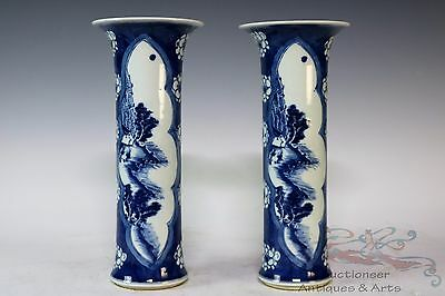 Blue and White Pair Beautiful Chinese Porcelain Landscape View Wintersweet Vases