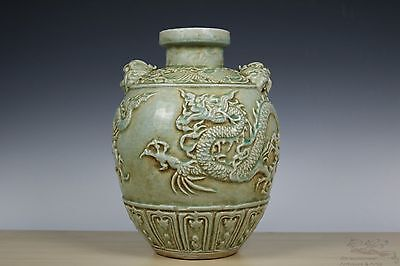 Beautiful Chinese LONGQUAN Porcelain Carved Duo Beast Handle Dragon Pot
