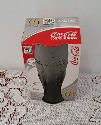 COKE COCA COLA South Africa FIFA 2010 CHARCOAL CONTOUR GLASS NEW IN PACKAGING
