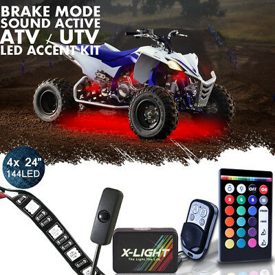 4pc ATV UTV Underbody Glow LED Lighting Kit 18 Color w/ Switch Brake Feature
