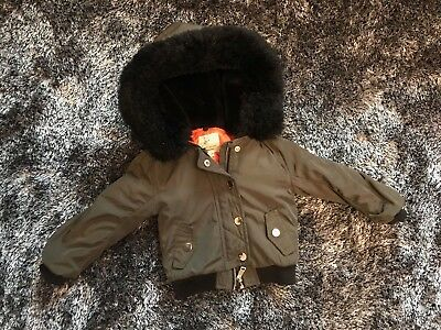Excellent Condition River Island khaki & orange faux fur hooded jacket - 12-18M