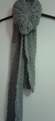 Ladies Knitted Beret Hat and Scarf Damart Grey / Brown New set