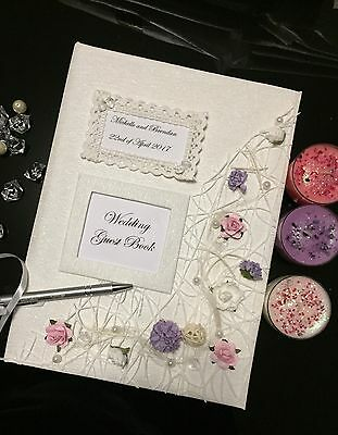 Personalized Luxurious Floral and jewelry Big Wedding Guest Book And Silver  pen