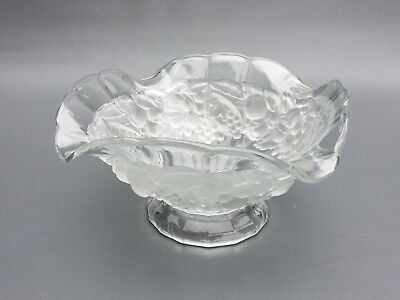 Antique clear & frosted pressed glass fruit bowl 1890's