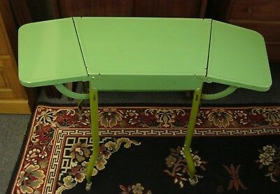 Vintage Metal Industrial Typewriter Kitchen Table Drop Leaves Rolling Lime Green