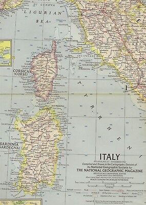 1961 National Geographic Railroad Map ITALY Rome Sicily Florence Venice Sardinia
