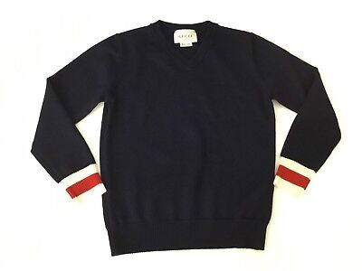Gucci Navy Blue V Neck Jumper 100 % Lana Wool Boys Age 4 Years Immaculate Web
