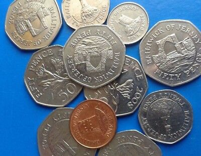 50p Coins Bailiwick of Guernsey & Jersey & 20ps & 5p & 1p Circulated