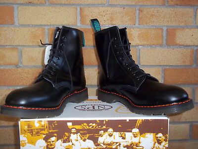 Solovair Black  8-Eyelet Derby Boot Unisex Leather  Boots