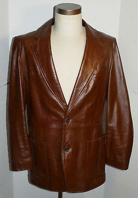 VINTAGE CLASSIC 1970s BROWN SOFT LIGHTWEIGHT LEATHER JACKET! BUTTON FRONT 42
