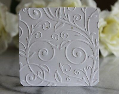 "25 White Swirl Earring Cards - 3""x3"" Beautifully Embossed Jewelry Cards - NEW"
