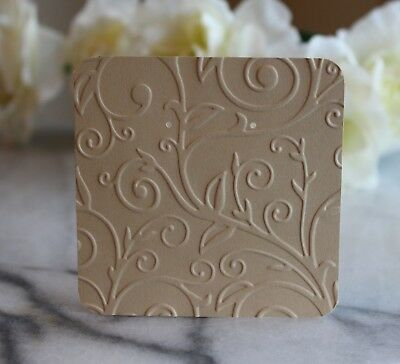 """25 Beige Swirl Earring Cards - 3""""x3"""" Beautifully Embossed Jewelry Cards - NEW"""